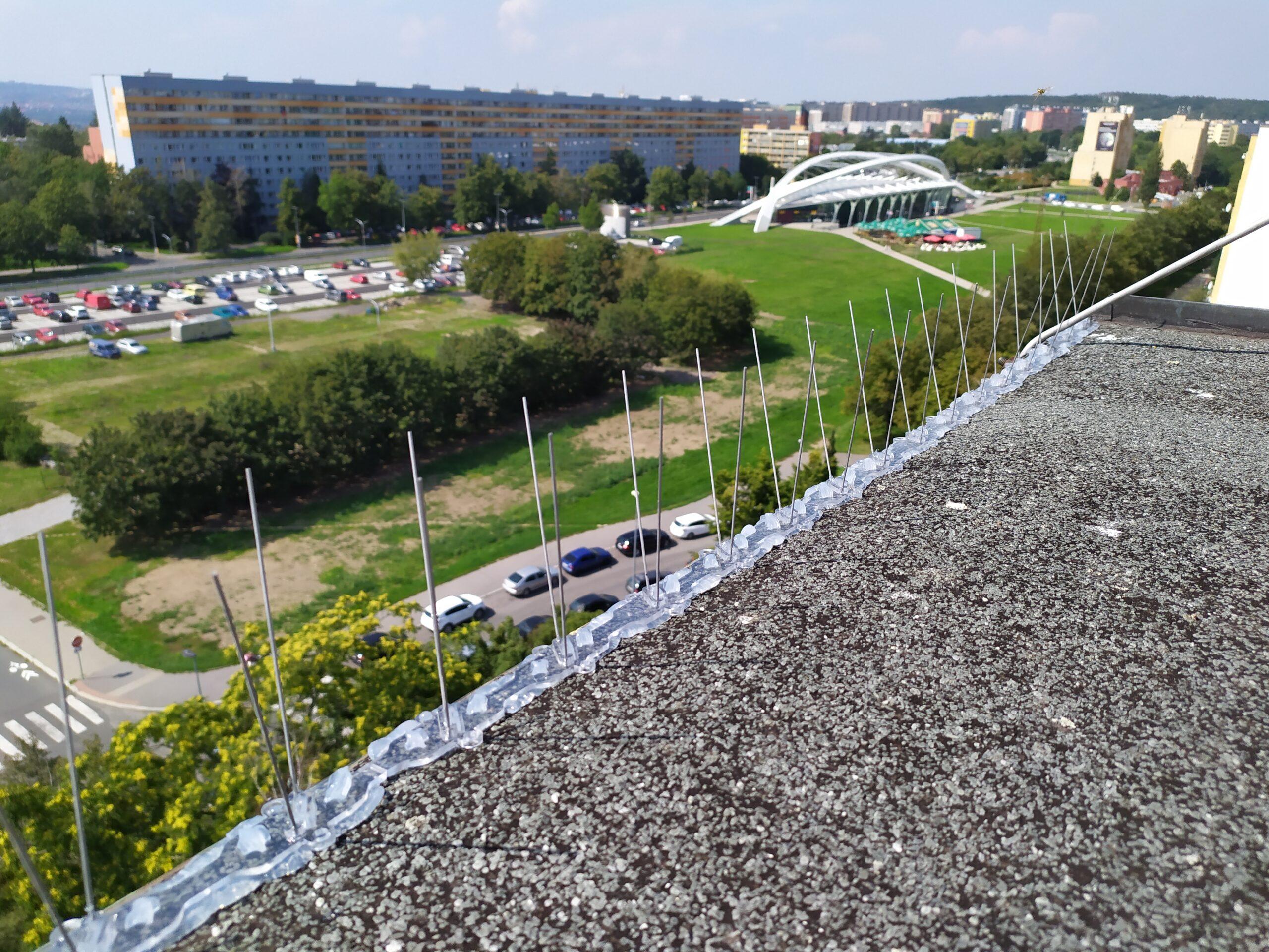 Hroty proti holubům na kraji střechy panelového domu v Praze